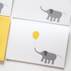 6 Blank Elephant Note Cards, Birthdays Thank You Thinking of You