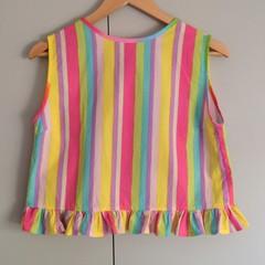 Pollyanna Top in Rainbow Laser - Sz S, sleeveless one off