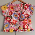 Delilah Top in Funday Flow Pink Print - Size XS, short sleeves , crop length