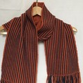 Unisex Scarf, Merino Wool, Handwoven, Burnt Orange & Navy