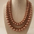 Chunky Multistrand Pearl Necklace, Peach, Silver, Wedding, Statement