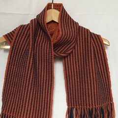 Merino Wool Handwoven Scarf, Burnt Orange & Navy, Unisex