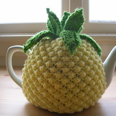 Pineapple Tea Cosy will fit 4 to 6 cup teapot. Handmade Knitted Gift