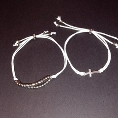 Set of 2 white waxed cord bracelets