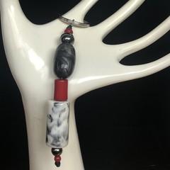 Handmade Beaded Keyring - Grey & Red