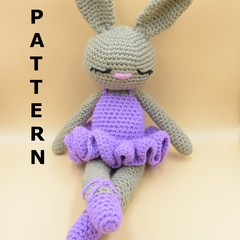 PATTERN Tiffy the ballerina - Crochet bunny, amigurumi toy rabbit, soft cuddling