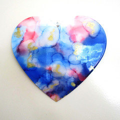 RESIN WALL ART HEART Wispy Ink Theme