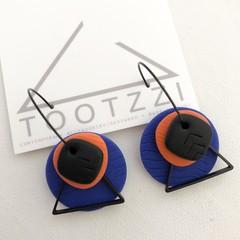 TEXTURE Hoops (Cobalt + Orange + Black) Interchangable Statement Dangles