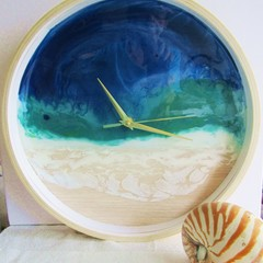 RESIN WALL CLOCK Beach Themed