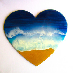 RESIN WALL ART 3D HEART Beach Themed