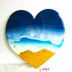 RESIN WALL ART 3 D Heart Beach Theme