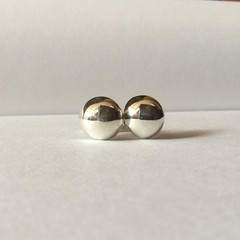 Polished dome earrings handcrafted in sterling silver 925