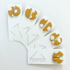 """Polka Dotties""  Lobe Lollies - Semi Circle Studs in Mustard"