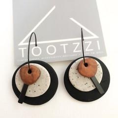 TEXTURE Hoops (Black + Sandstone + Rust) Interchangable Statement Dangles
