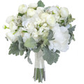 Traditional Ivory White Silk Bridal Bouquet Peonies, Gum Nuts