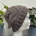 Teen - Adult Beanie Hat, FREE POST ,  Wool,  Brown , Hand Knit