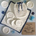 White Hand Crocheted Pamper Pack with Navy Blue Trims