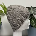 Child , Teen, Adult , FREE POST , Wool, Beanie Hat, Grey Brown, Hand Knit