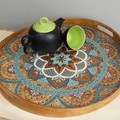 Wooden serving coffee table round ottoman tray with handles for breakfast