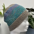 Teen - Adult Beanie Hat, FREE POST ,  Wool,  Brown Teal Blue , Hand Knit
