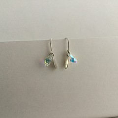 Swarovksi crystal briolette drop earrings with Sterling oval shaped charms