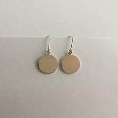 Flat disk drop earrings handcrafted in sterling silver 925