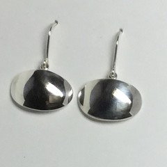 Domed oval drop earrings handcrafted in sterling silver 925