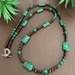 Malachite & Jade Wooden Long Necklace