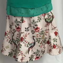 Ladies custom made 6-gore flip printed Stretch Woven Cotton Sateen Skirt-Pge 1/4