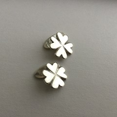 ***MADE TO ORDER***Four leaf clover cufflinks handcrafted in sterling silver 925