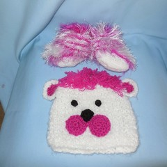 Baby Bear Beanie and Faux Fur Booties