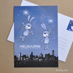 Floating into Melbourne - Postcard