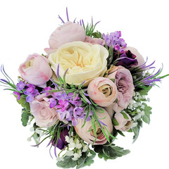 Wedding Bouquet - Purple, Lilac, Ivory Rose Bouquet with Buttonhole