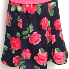Ladies custom made 6-gore flip printed Stretch Woven Cotton Sateen Skirt-Pge 3/4