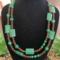 Malachite & Jade Wooden Long Necklace