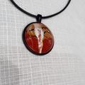 Pendant, necklace,hand painted  round bezel