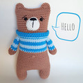 Teddy bear; soft toy; blue jumper;