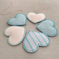 Heart Mobile Turquoise & White Fabric Babyshower First Birthday Girl Boy