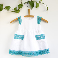 Linen and Lace Toddler Dress Size 1