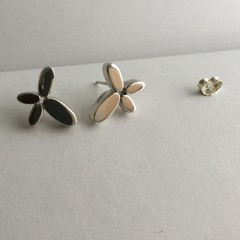 Chunky butterfly flower studs handcrafted in sterling silver 925