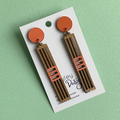 Wooden Orange Statement Earrings
