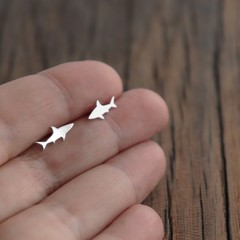 Shark Design Sterling Silver Stud Earring