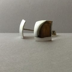 Square domed stud earrings handcrafted in sterling silver 925