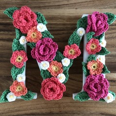 Wooden initial for door or wall with crochet flowers - Large 17cm