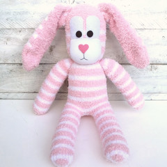 'Blossom' the Sock Bunny - pink & white - *READY TO POST* (Easter)