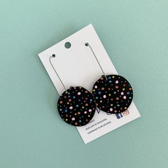 Polka Dot Wooden Statement Earrings
