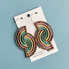 Double Rainbow Wooden Statement Earrings