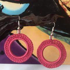 Hand-crocheted Hoop Earrings - Pink