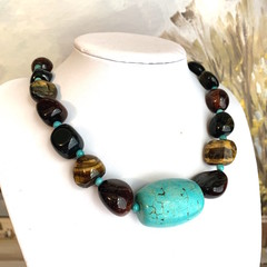 Genuine Caramel, Wine color TIGER'S EYE and Blue TURQUOISE Fashion Necklace.