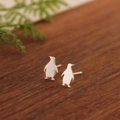 Penguin Earrings, Sterling Silver Penguin Studs, Sweet Little Penguins, Penguin